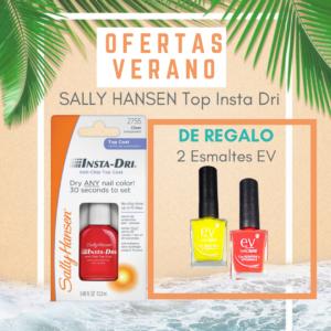 SALLY HANSEN TOP COAT INSTA DRI = 2 ESMALTES EV DE REGALO